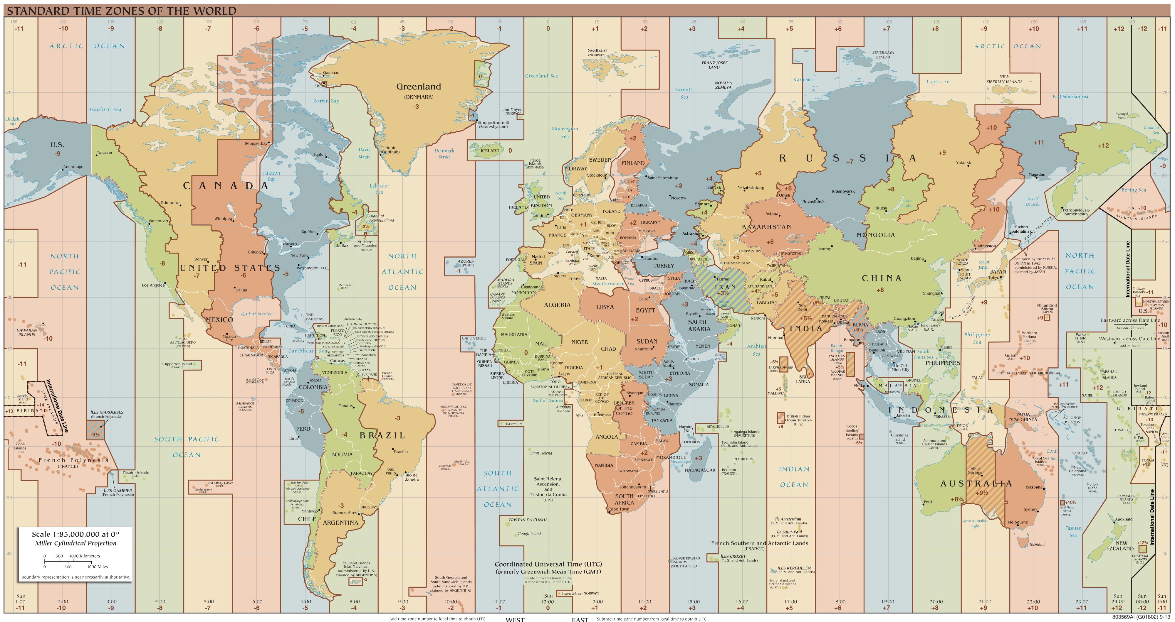 Mappa mondiale dei fusi orari