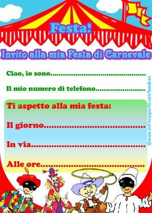 Clicca e stampa il biglietto di invito alla Festa di Carnevale